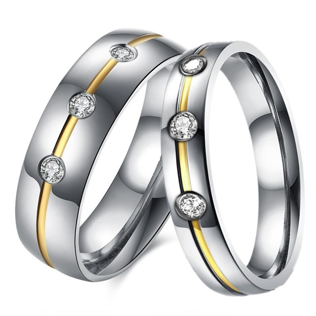 2pcs set couple ring wedding rings pair his and her love promise