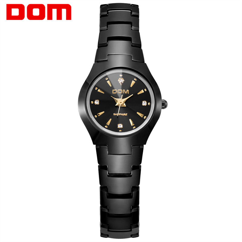DOM Fashion Watch Women relogio feminino Dress quartz watches gold silver waterproof Tungsten Steel bracelet watches W-398GK-1M guanqin fashion women watch gold silver quartz watches waterproof tungsten steel watch women business bracelet gq30018 b