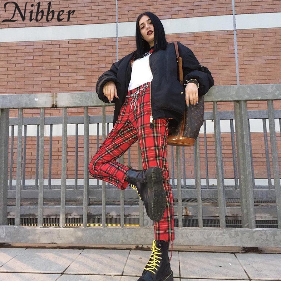 Nibber Women Popular Plaid Slim Harem Fit Pants New Collocation Fashion Casual Pants 2018 High Waist Classic Vintage Style Pants