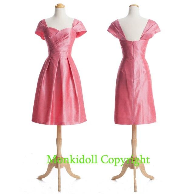 ed3bd52ea88 Cute Cap Sleeves Coral Bridesmaid Dresses Knee Length Taffeta Short  Bridesmaid Dress Custom Made Wedding Party Gowns Cheap