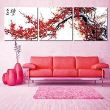 Triptyque fleur de prunier rouge modulaire traditionnel chinois peinture affiches et impressions Art toile mur photos pour salon