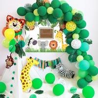 Зеленый лес шары из латекса гирлянда набор сафари диких животных Обезьяна Жираф Тигр воздушный шар в форме животного комплект детское шоу Д...