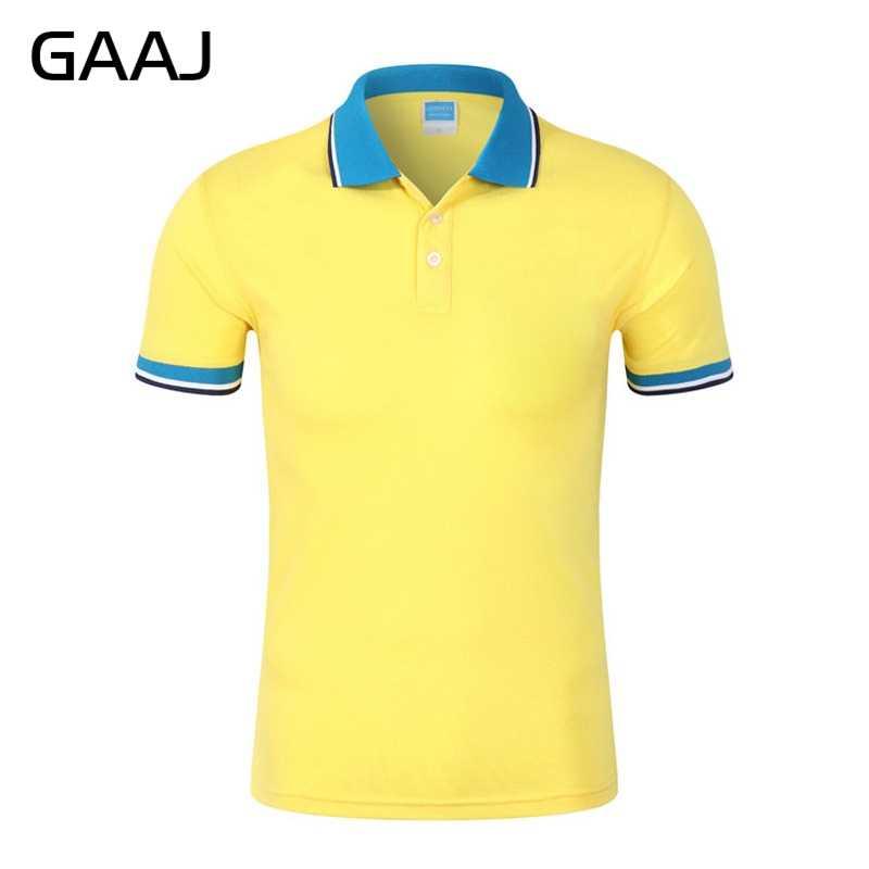 GAAJ New 2019 Homens Camisa Polo Marca de Moda manga Curta Gola Colorida Preto Amarelo Rosa Cinza Polos camisas de Verão Dos Homens top Tee