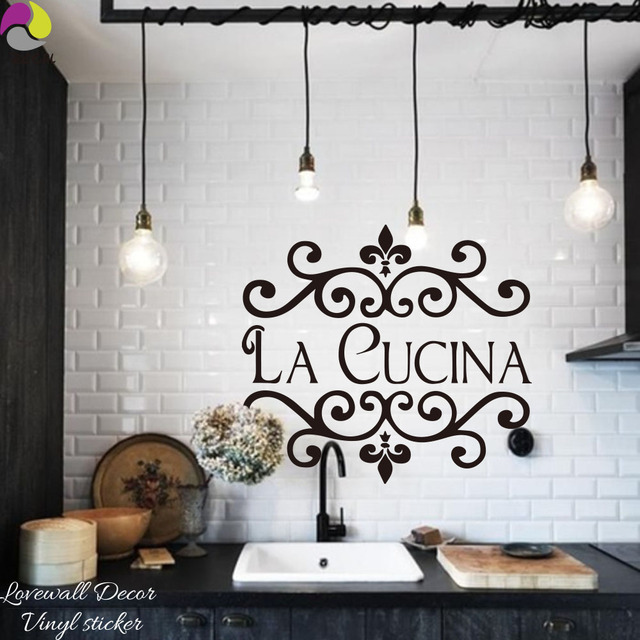 Kitchen Art Decor Under Sink Storage La Cucina Wall Sticker Italian Quote Flower Cut Vinyl Mural Free New Diy