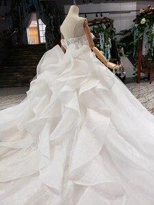 Image 4 - HTL496ドバイ王女のウェディングドレスフリルロングトレイン特別なストラップレスブライダルドレス結婚式ベールsukienka biala