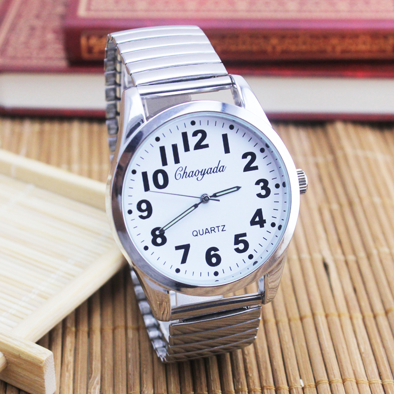 2018 Old Men Women Couples Watches Flexible Elastic Strap Fashion Simple Large Digital Stainless Steel Electronic Wristwatches