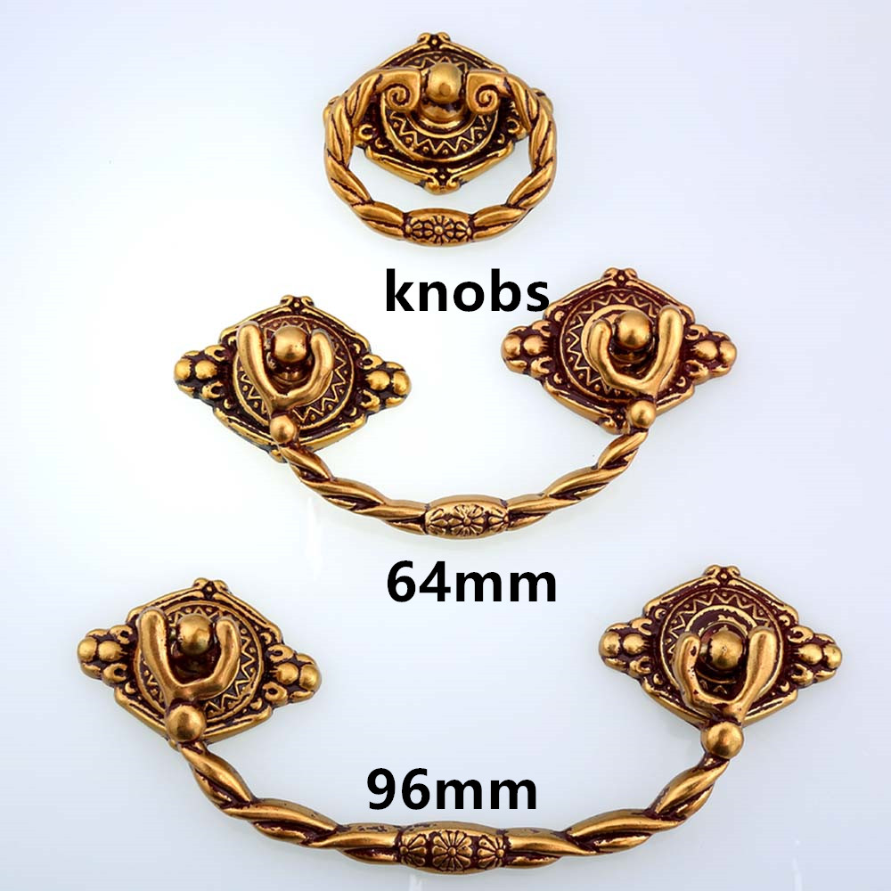 64mm 96mm europe vintage style furniture shaky handles knob antique gold drawer cabinet dresser door handle pull drop rings knob 64mm 96mm vintage bamboo furniture handles bronze kitchen cabinet dresser door handles 2 5 antique brass drawer pull knob 3 75