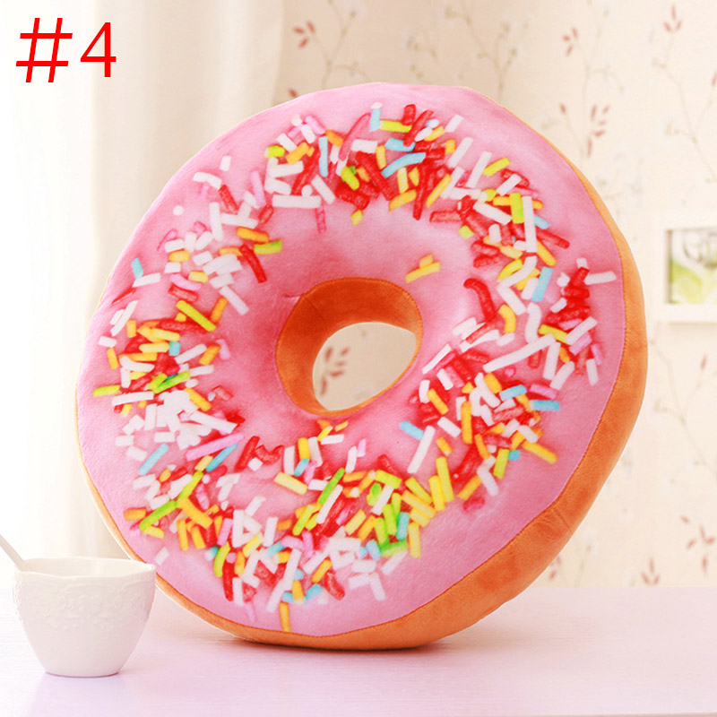 Cute Donuts Pillow Chocolate Donuts Plush Macaron Food Cushion Nice Bottom Cushion Nap Pillow Doughnut Coussin  P7Ding