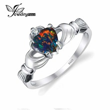 JewelryPalace Coronary heart zero.6ct Irish Claddagh Created Black Opal Birthstone Promise Ring 925 Sterling Silver Jewellery Model New Ring