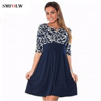 SMFOLW 2018 Summer Dress Big Size Printed Dress Casual Patchwork Loose Dress Plus Size Women Clothing