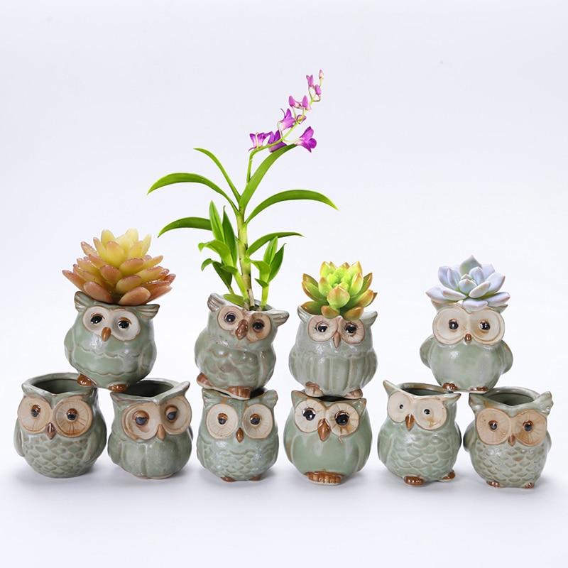 10pcs Set Porcelain Animal Flower Pot Series Mini Pots