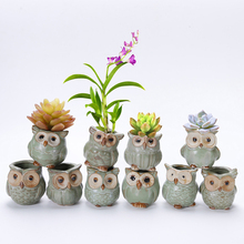 10Pcs/Set Porcelain Animal Flower Pot Series Mini Pots Ornaments Kiln Owl Multi-flower Pots Suit Exquisite Small Home Decoration