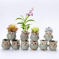 10Pcs/Set Porcelain Animal Flower Pot Series Mini Pots Ornaments Kiln Owl Multi flower Pots Suit Exquisite Small Home Decoration