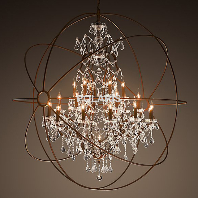 Modern vintage orb crystal chandelier lighting rh rustic Crystal candle chandelier