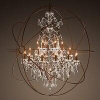 Modern Vintage Orb Crystal Chandelier Lighting Rustic Candle Chandeliers LED Pendant Hanging Light for Home Hotel Decoration