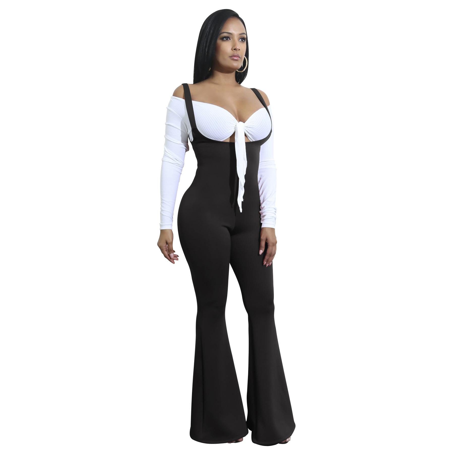 High Waist Pants Women Sexy Spaghetti Strap Jumpsuits Casual Solid Flared Long Pants Women High Stretch Slim Rompers Overalls