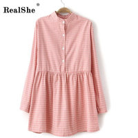 RealShe Summer Shirt Dress 2017 Vestidos Elegant Lepal Sexy Mini Women Short Sundress Plaid Party Beach