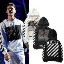 New Fashin Jistin Bieber OFF WHITE Religious Stripes Jesus Hoodies Sweatshirts Men Hip Hop Pullover Tracksuit Sweatshirts Jacket