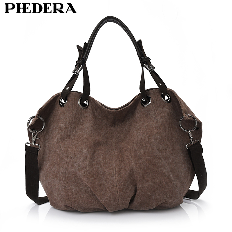 Phedera High Quality Canvas Women Shoulder Bags Vintage Large Women Handbags Coffee Casual Female Hobo Bag Lady Hand Bag 2017 new 2017 women bag vintage canvas handbags messenger bags for women handbag shoulder bags high quality casual bolsa