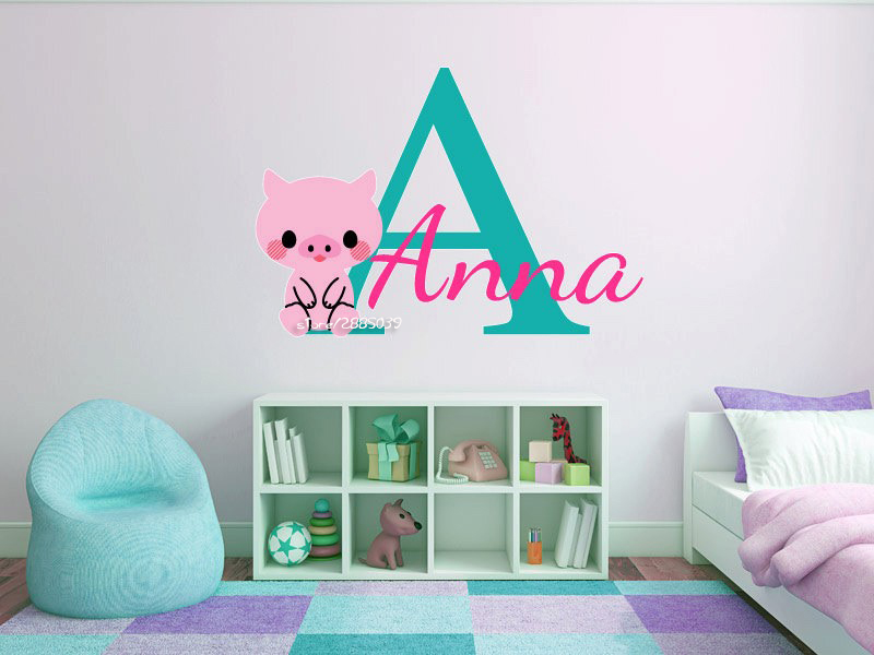 Baby Pig Customized Name Wall Stickers Monogram Baby Boys and Girls Nursery  Room Vinyl Wall Decal. Pig Bedroom   WSIProfiTeam com