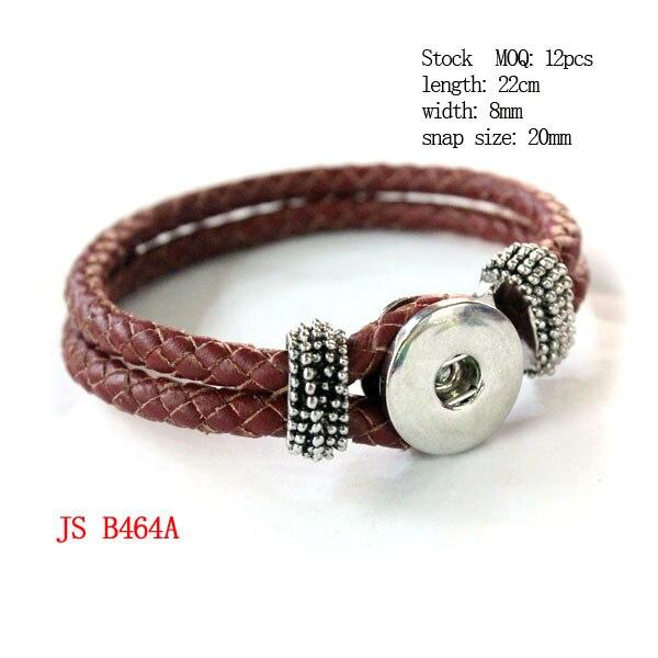 (1 piece/lot) Brown Color Braided Genuine Leather Bracelet Interchangeable Snaps Leather Bracelet
