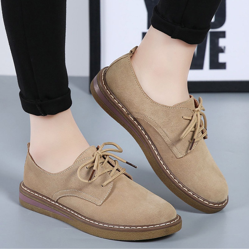 Fashion Women Flats Oxford Loafers   Suede     Leather   Shoes Lace Up Comfortable Moccasins Oxford Shoe For Women Creepers Flat Loafers