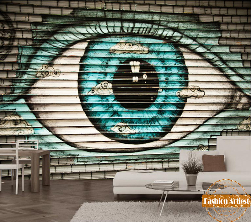 Custom abstract Gothic graffiti on wooden board wallpaper mural eye of wisdom window of heart tv sofa bedroom living room cafe