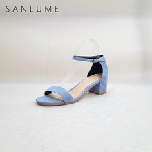 SANLUME New Summer Kid Suede High Heels Sandals Women Pumps Jelly Shoes Woman Leather Sandals Ankle Strap Thick Heels Peep Toe недорго, оригинальная цена