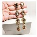 Crystal Luxury Clip Earrings For Women New Vintage Party Show Earring Fashion Long Clip Earrings Female Big Clip Earring