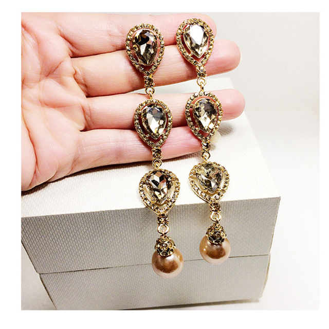 New Crystal Statement Clip Earrings For Women Vintage Party Show Earring Fashion Long