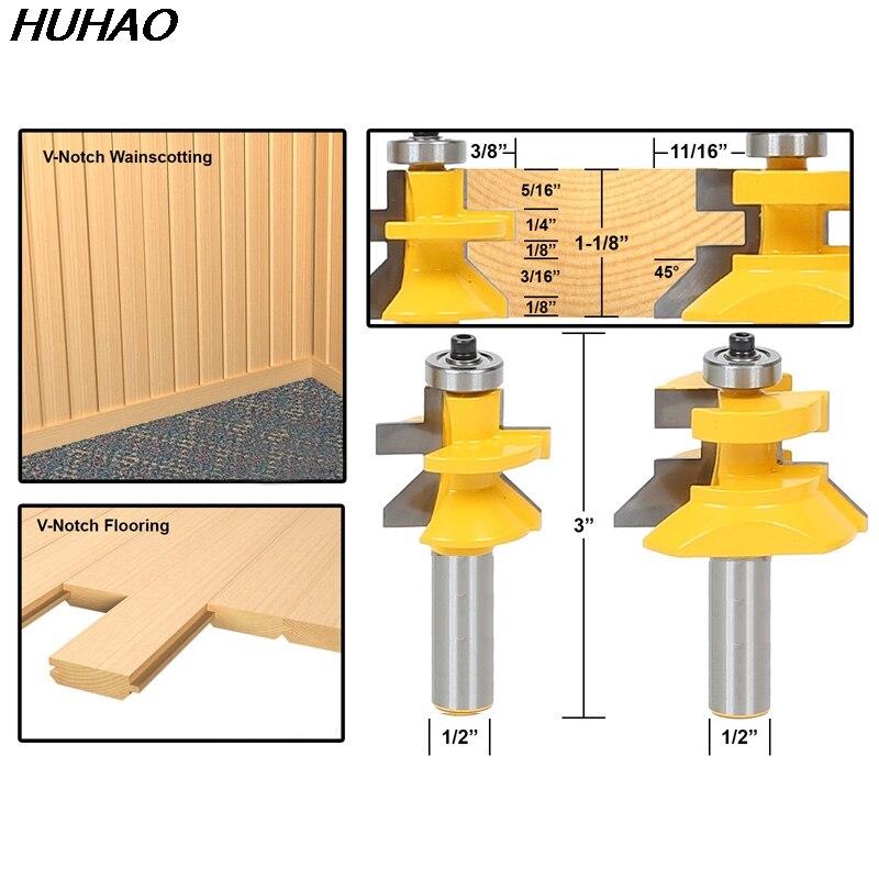 2pcs/lot 1/2 Matched Tongue & Groove V- Notch Router Bit Set Wooden CNC endmill Door Construction 2pcs tongue