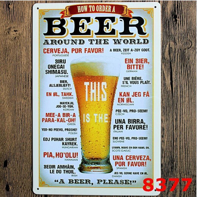 Beer around the world Tin Sign Bar pub home Wall Decor Retro Metal