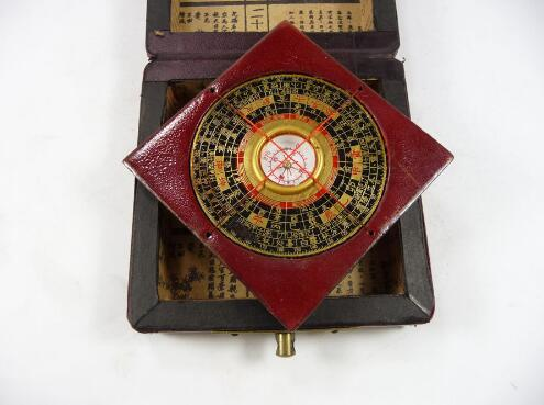 Collectible Old  Wood Hand-Carved Big Compass painting Dragon Phoenix Box