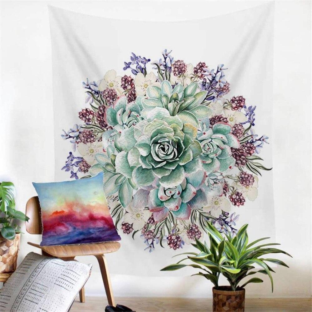 2 Dimensioni mandala Wall Hanging Cactus Piante Grasse Arazzo Verde 3D Flower Art Tappeto Stuoia Coperta Di Yoga Decorativo Arazzo per la Casa