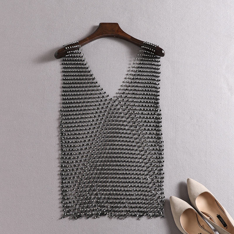 high quality diamond mesh tank top <font><b>festival</b></font> <font><b>queen</b></font> women's <font><b>sexy</b></font> see through 2018. the elastic core fitting short sleeves image