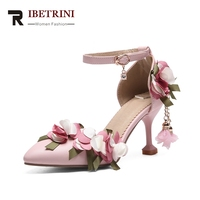 RIBETRINI 2018 Summer Big Size 33 46 Sweet Flowers Princess Sandals High Heels Party Prom Wedding Shoes Woman