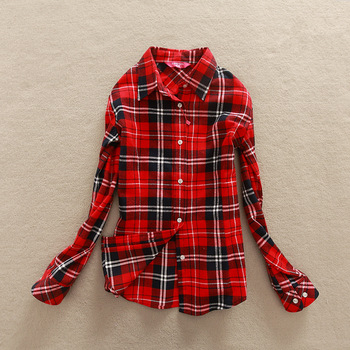 Women's Autumn Long Sleeve Cotton Plaid Blouse