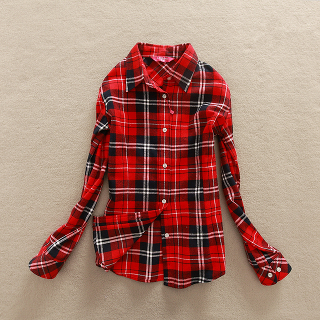 FEKEHA 2019 New Autumn Long Sleeve Womens Cotton Plaid Shirt Turn Down Collar  Shirt Blusas Feminino e7ecffcb6da8