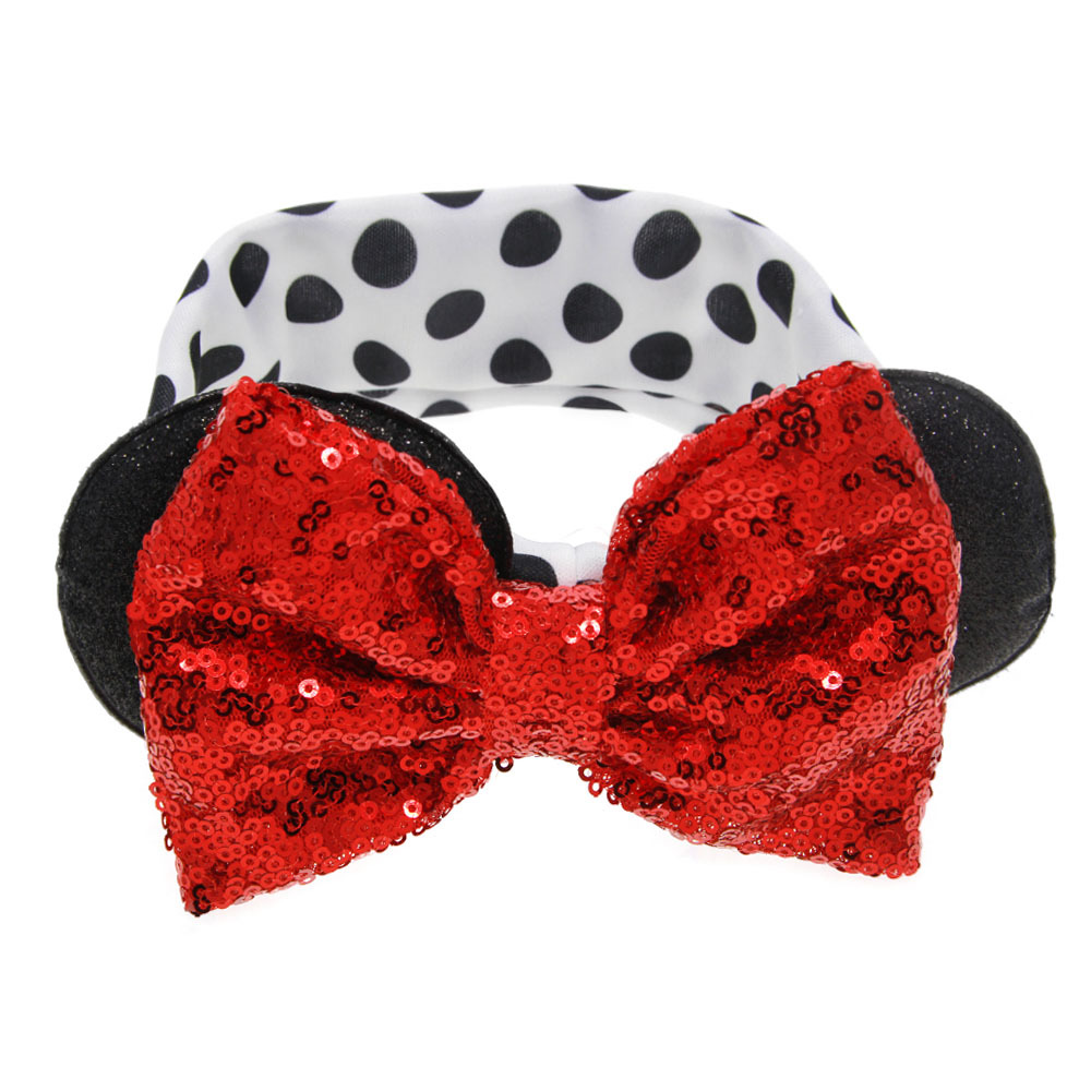 New Baby Nylon Headbands Minnie Mouse Ears Headband Hairbands Sequin Bowknot Headwear for Newborn Elastic Hair Accessories cat ear sequin headband