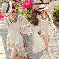 2016 Nuevas Blusas de Las Mujeres de La Vendimia Floral de Manga Larga Blusa Femenina Lindo Fringe Encajes de Ganchillo Camisas Bohemias Vestido Blanco