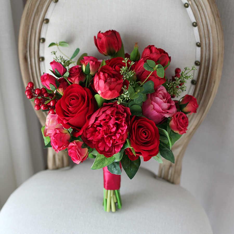 Janevini Menawan Pengantin Bunga Pernikahan Bouquet Merah Mawar Sutra Buatan Pernikahan Bride Memegang Bros Aksesoris Trouw Boeket