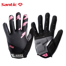 Santic Cycling Gloves Women Bicycle Full Finger Touch Screen Windproof Shockproof EVA Palm Bike Road MTB
