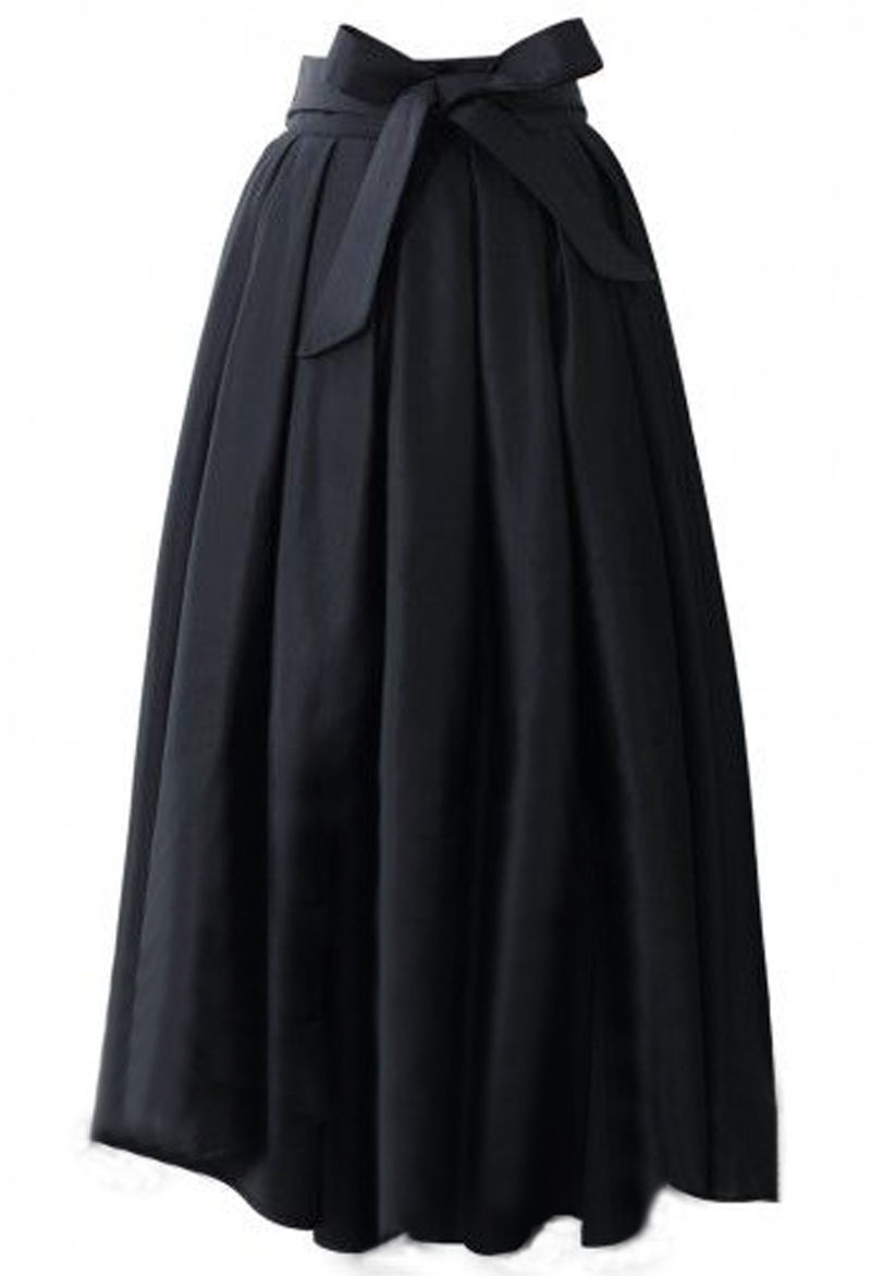 Runaway Maxi Skirts Womens Vintage 2018 Ball Gown Solid Black Blue Party A-line Pleated Long Skirt XXXL Plus Size Pockets