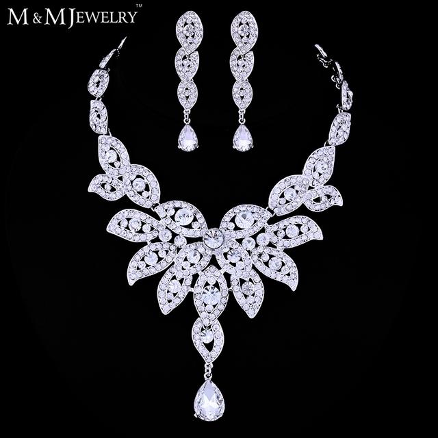 Minmin Luxuoso Folha Forma Colar de Cristal Banhado A Ouro Branco Conjuntos de Jóias de Casamento Floral Brincos TL010