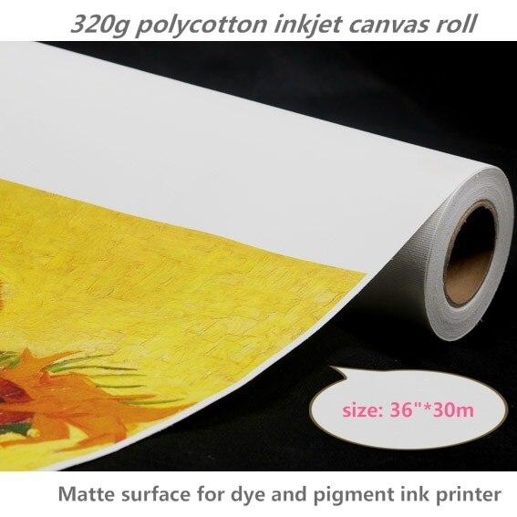 "36""*30m 320gsm Matte Inkjet Digital Printing Polycotton Canvas Roll for Art Canvas"