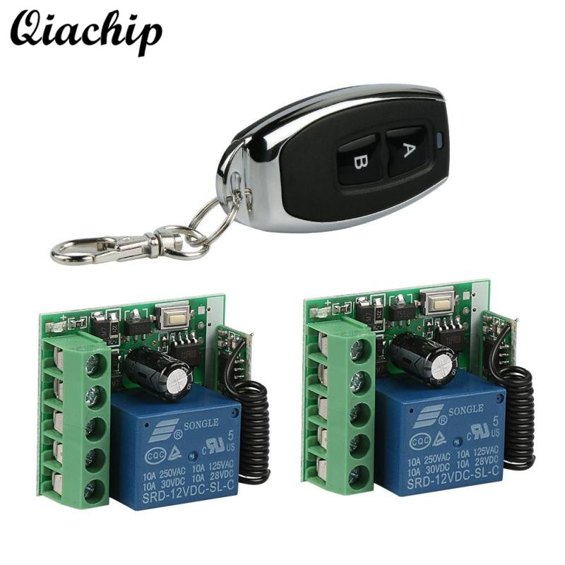 QIACHIP Wireless DC 12V 1 CH 433 Mhz Remote Control Switch RF Relay Receiver Module and Transmitter Electronic Lock Control Diy dc 12v 1ch 433 mhz universal wireless remote control switch rf relay receiver module and transmitter electronic lock control diy