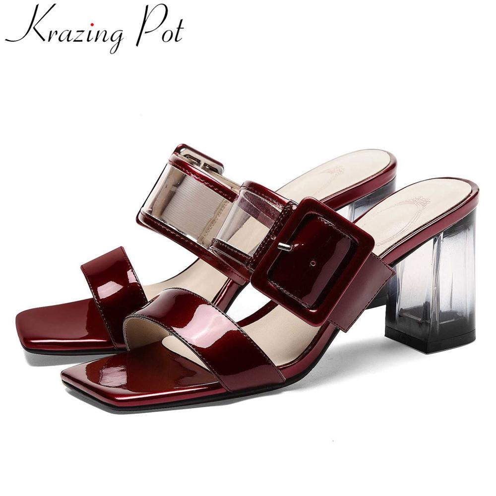 Krazing pot vintage cow leather high heels slip on mules peep square toe European designer streetwear jelly shoes sandals L35Krazing pot vintage cow leather high heels slip on mules peep square toe European designer streetwear jelly shoes sandals L35