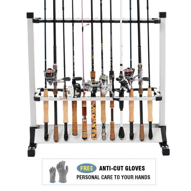Fishing Rod Holder Aluminum Rolling Fishing Pole Rack Stand 24 Rods Storage  Organizer Cut Proof