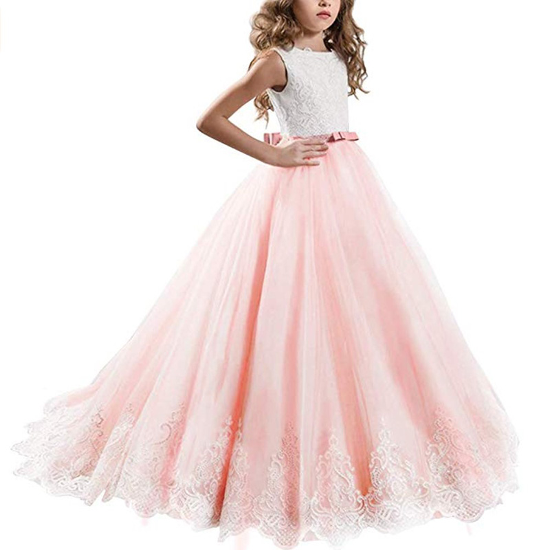 Flower     Girl's   Birthday Banquet Lace Panel   Dress   Elegant   Girl's   Wedding Long Butterfly Lace   Dress   Vestido Comunion Clothing