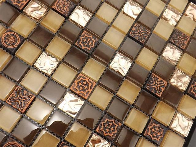 Colore marrone vetro mosaico per la cucina backsplash piastrelle